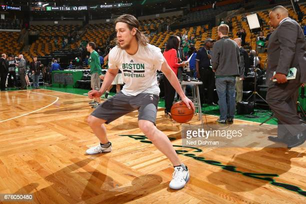 Kelly Olynyk of the Boston Celtics warms up before Game One of the Eastern Conference Semifinals against the Washington Wizards during the 2017 NBA...