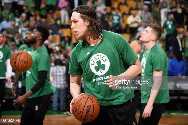 Kelly Olynyk of the Boston Celtics warms up before the game against the Cleveland Cavaliers during Game One of the Eastern Conference Finals of the...