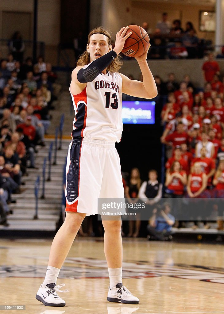 Kelly Olynyk #13 of the Gonzaga Bulldogs holds the ball during the game against the Saint Mary's Gaels at McCarthey Athletic Center on January 10, 2013 in Spokane, Washington.