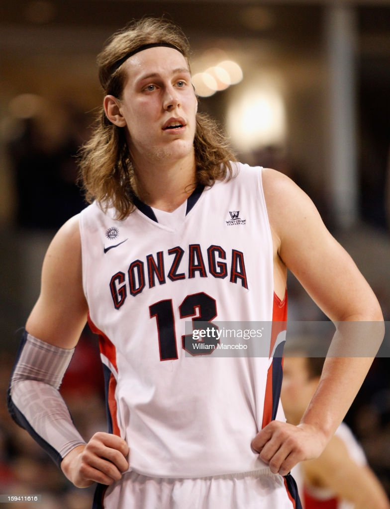 Kelly Olynyk #13 of the Gonzaga Bulldogs stands on the court during the game against the Saint Mary's Gaels at McCarthey Athletic Center on January 10, 2013 in Spokane, Washington.