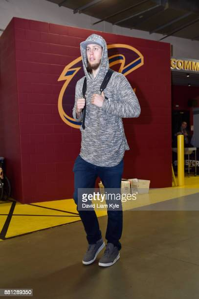 Kelly Olynyk of the Miami Heat arrives before the game against the Cleveland Cavaliers on November 28 2017 at Quicken Loans Arena in Cleveland Ohio...