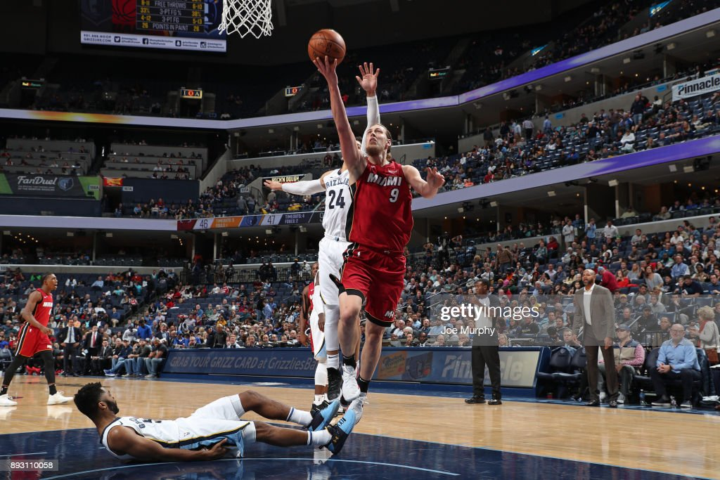 Kelly Olynyk #9 of the Miami Heat goes for a lay up against the Memphis Grizzlies on December 11, 2017 at FedExForum in Memphis, Tennessee.