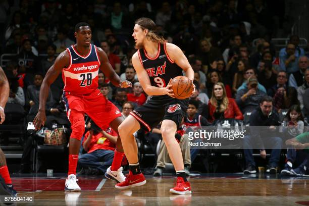 Kelly Olynyk of the Miami Heat handles the ball against the Washington Wizards on November 17 2017 at Capital One Arena in Washington DC NOTE TO USER...