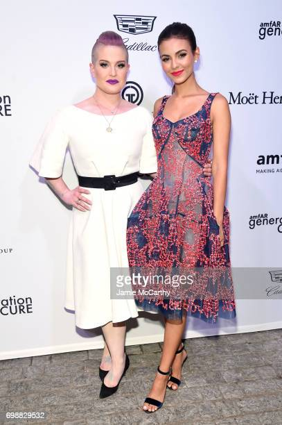 Kelly Osborne and Victoria Justice attend the amfAR generationCURE Solstice 2017 at Mr Purple on June 20 2017 in New York City