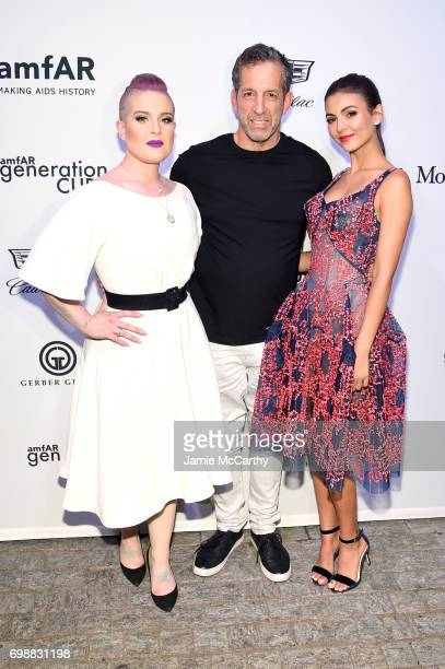 Kelly Osborne Kenneth Cole and Victoria Justice attend the amfAR generationCURE Solstice 2017 at Mr Purple on June 20 2017 in New York City