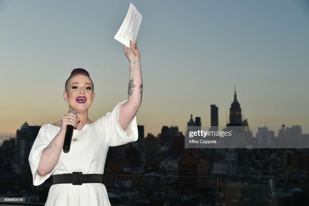 Kelly Osborne speaks at the amfAR generationCURE Solstice 2017 at Mr. Purple on June 20, 2017 in New York City.