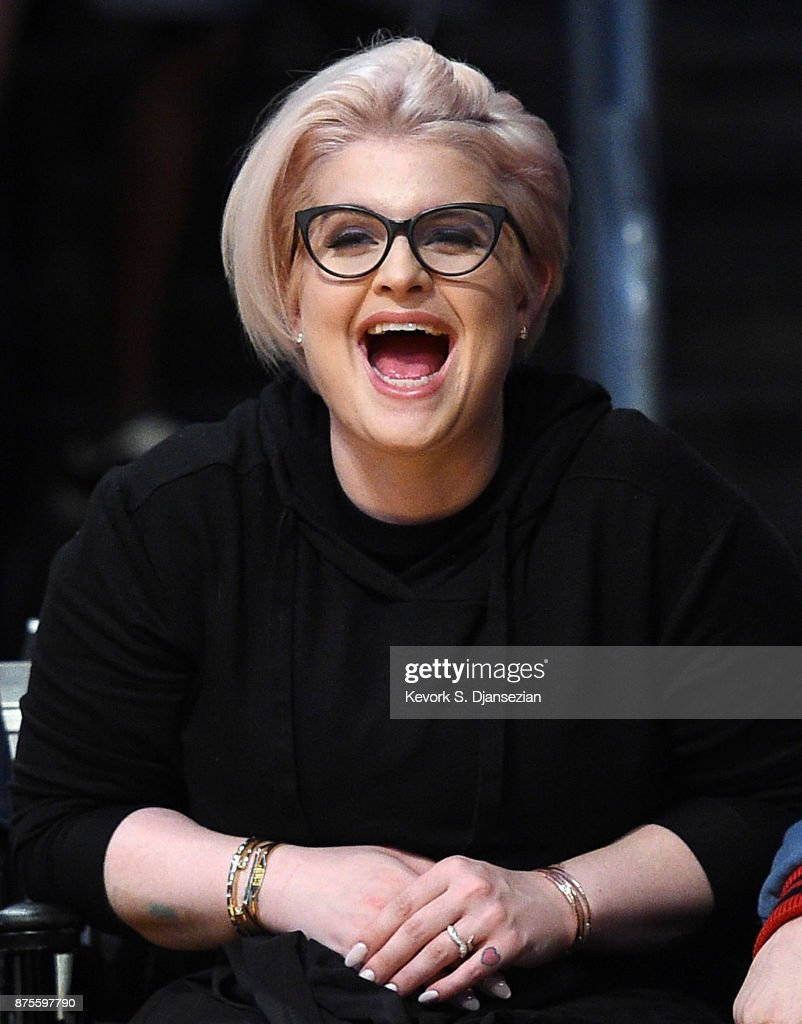 Kelly Osbourne and a friend attend Phoenix Suns and Los Angeles Lakers basketball game at Staples Center November 17, 2017, in Los Angeles, California.
