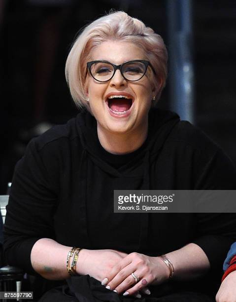 Kelly Osbourne and a friend attend Phoenix Suns and Los Angeles Lakers basketball game at Staples Center November 17 in Los Angeles California