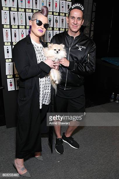 Kelly Osbourne and designer Jeremy Scott pose backstage at the Jeremy Scott fashion show during New York Fashion Week The Shows at The Arc Skylight...