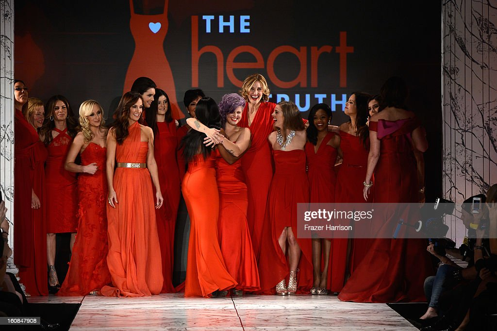 Kelly Osbourne and fellow models walk the runway at The Heart Truth 2013 Fashion Show at Hammerstein Ballroom on February 6, 2013 in New York City.