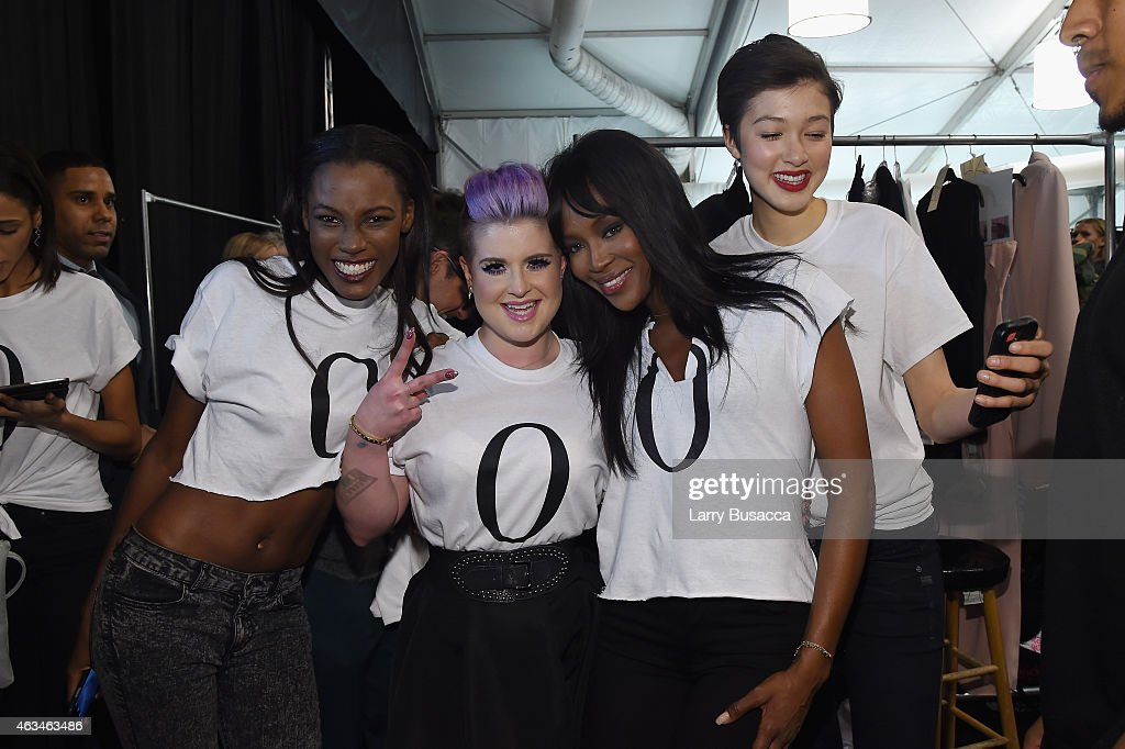 Kelly Osbourne(2nd from L) and Naomi Campbell pose with models backstage at Naomi Campbell's Fashion For Relief Charity Fashion Show during Mercedes-Benz Fashion Week Fall 2015 at The Theatre at Lincoln Center on February 14, 2015 in New York City.