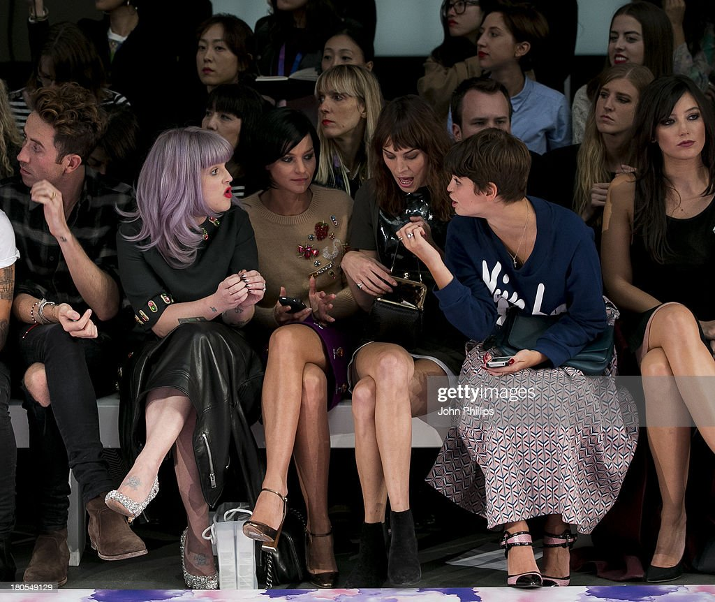 Kelly Osbourne, Leigh Lezark, Alexa Chung and Pixie Geldof attend the House Of Holland show during London Fashion Week SS14 on September 14, 2013 in London, England.