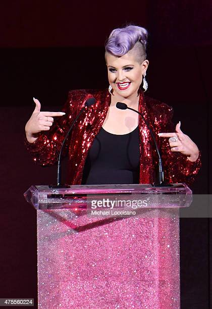 Kelly Osbourne presents fashion designer Betsey Johnson with the Geoffrey Beene Lifetime Achievement Award onstage at the 2015 CFDA Fashion Awards at...