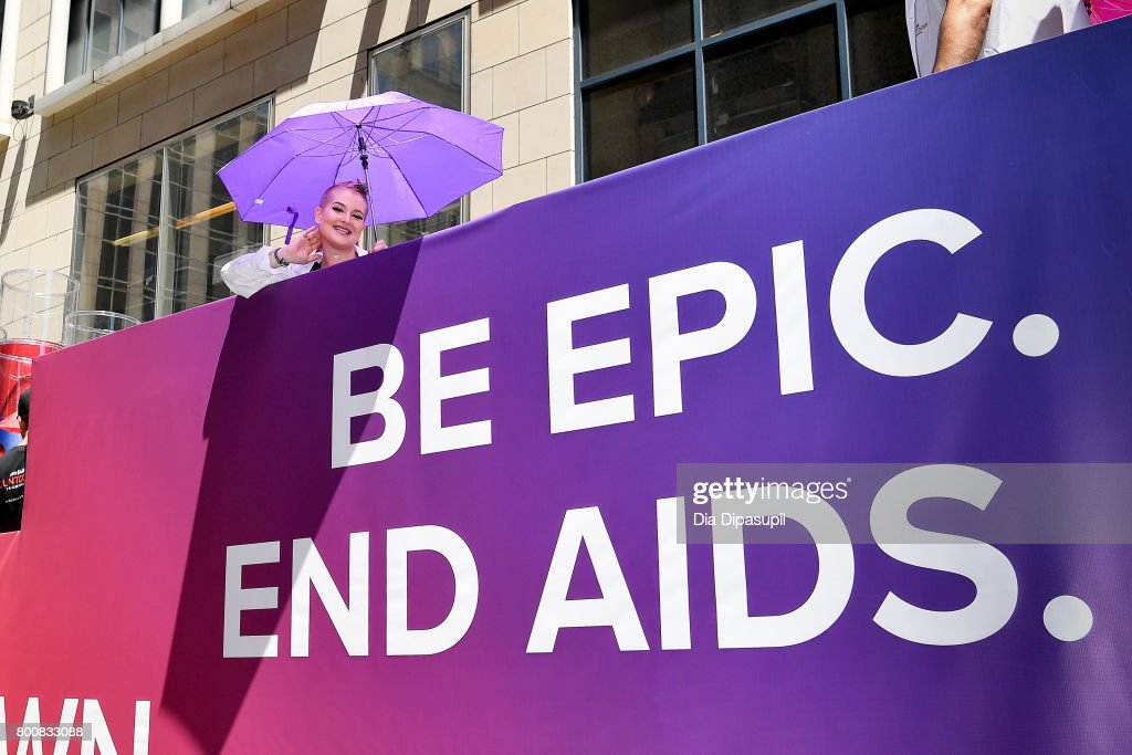 Kelly Osbourne rides the amfAR #BeEpicEndAIDS float during the 2017 New York City Pride March on June 25, 2017 in New York City.