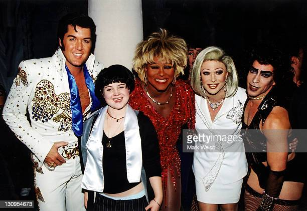 Kelly Osbourne with Elvis Barbra Streisand and Tim Curry/'Rocky Horror' impersonators
