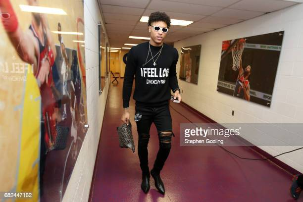 Kelly Oubre Jr #12 of the Washington Wizards arrives to the arena before the game against the Boston Celtics during Game Six of the Eastern...