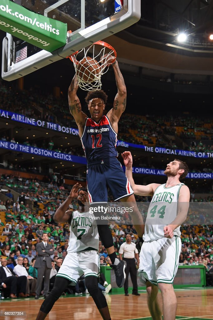 Kelly Oubre Jr. #12 of the Washington Wizards dunks the ball against the Boston Celtics in Game Five of the Eastern Conference Semifinals during the 2017 NBA Playoffs on May 10, 2017 at the TD Garden in Boston, Massachusetts.