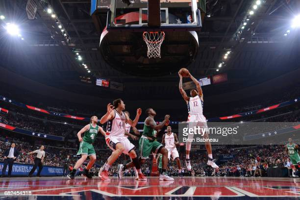 Kelly Oubre Jr #12 of the Washington Wizards grabs the rebound against the Boston Celtics during Game Six of the Eastern Conference Semifinals of the...