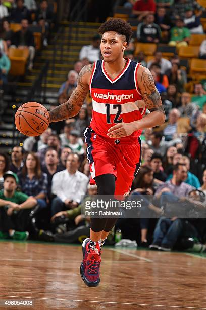 Kelly Oubre Jr #12 of the Washington Wizards handles the ball against the Boston Celtics on November 6 2015 at the TD Garden in Boston Massachusetts...