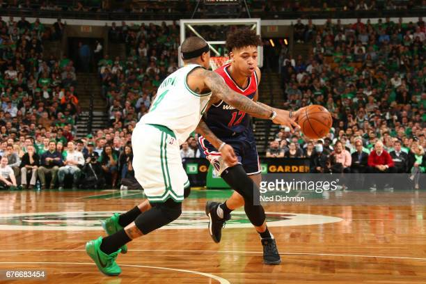 Kelly Oubre Jr #12 of the Washington Wizards handles the ball against the Boston Celtics in Game Two of the Eastern Conference Semifinals of the 2017...