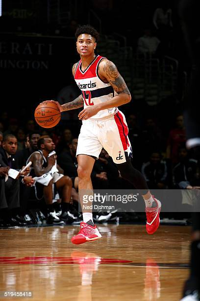 Kelly Oubre Jr #12 of the Washington Wizards handles the ball during the game against the Brooklyn Nets on April 6 2016 at Verizon Center in...