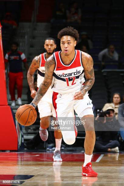 Kelly Oubre Jr #12 of the Washington Wizards handles the ball during the preseason game against the Guangzhou LongLions on October 2 2017 at Capital...