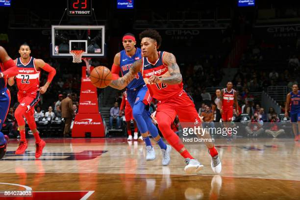 Kelly Oubre Jr #12 of the Washington Wizards handles the ball during game against the Detroit Pistons on October 20 2017 at Capital One Arena in...