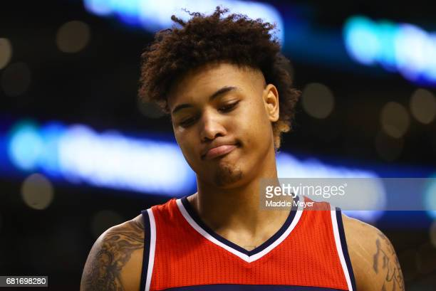 Kelly Oubre Jr #12 of the Washington Wizards looks on during the second half of Game Five of the Eastern Conference Semifinals against the Boston...