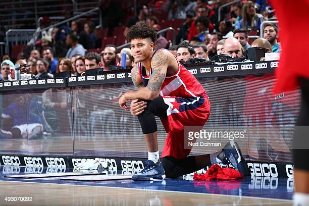 Kelly Oubre Jr #12 of the Washington Wizards prepares to go into the game against the Philadelphia 76ers during the preseason game on October 16 2015...