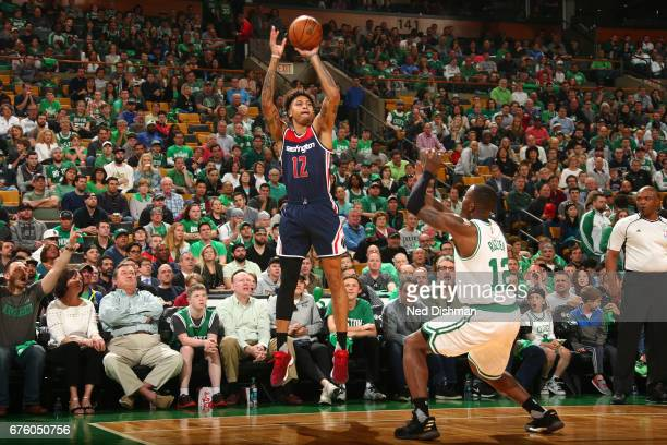 Kelly Oubre Jr #12 of the Washington Wizards shoots the ball against the Boston Celtics in Game One of the Eastern Conference Semifinals of the 2017...