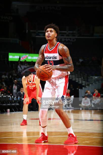 Kelly Oubre Jr #12 of the Washington Wizards shoots the ball during the preseason game against the Guangzhou LongLions on October 2 2017 at Capital...
