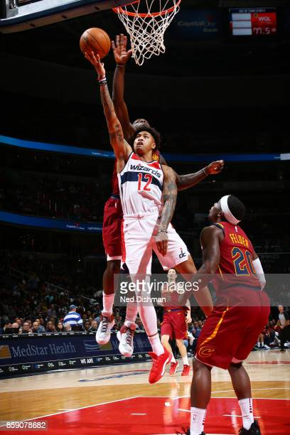 Kelly Oubre Jr #12 of the Washington Wizards shoots the ball during the preseason game against the Cleveland Cavaliers on October 8 2017 at Capital...