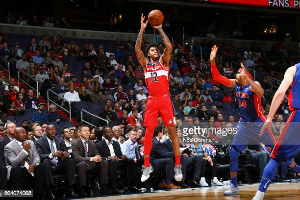 Kelly Oubre Jr #12 of the Washington Wizards shoots the ball during game against the Detroit Pistons on October 20 2017 at Capital One Arena in...