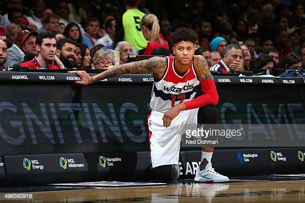 Kelly Oubre Jr #12 of the Washington Wizards waits on the sidelines during the game against the Oklahoma City Thunder on November 10 2015 at Verizon...