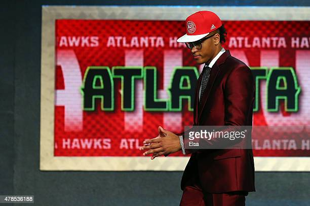 Kelly Oubre Jr leaves the stage after being selected 15th overall by the Atlanta Hawks in the First Round of the 2015 NBA Draft at the Barclays...