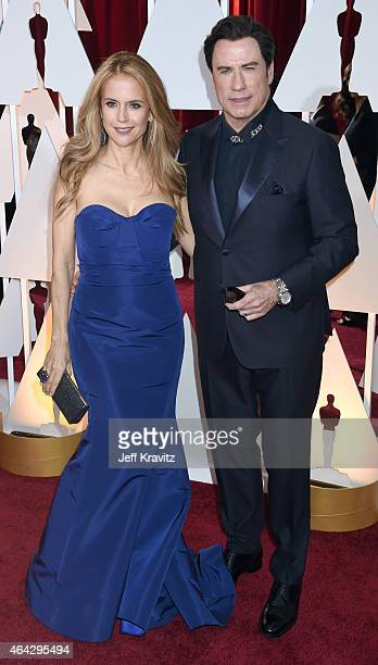 Kelly Preston and John Travolta attend the 87th Annual Academy Awards at Hollywood Highland Center on February 22 2015 in Hollywood California