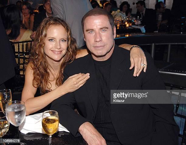 Kelly Preston and John Travolta during Tony Bennett's 80th Birthday Party Inside in New York City New York United States