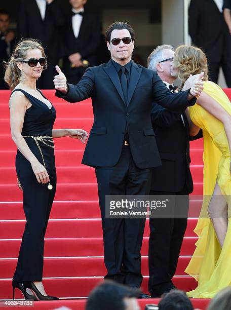 Kelly Preston John Travolta Thierry Fremaux and Uma Thurman attend the 'Clouds Of Sils Maria' Premiere during the 67th Annual Cannes Film Festival on...