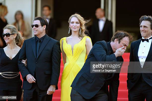 Kelly Preston John Travolta Uma Thurman Quentin Tarantino and Lawrence Bender attend the 'Clouds Of Sils Maria' premiere during the 67th Annual...