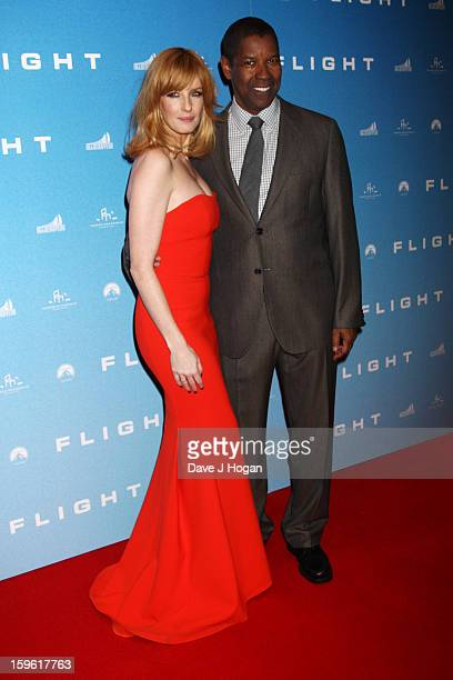 Kelly Reilly and Denzel Washington attend the UK premiere of 'Flight' at The Empire Leicester Square on January 17 2013 in London England