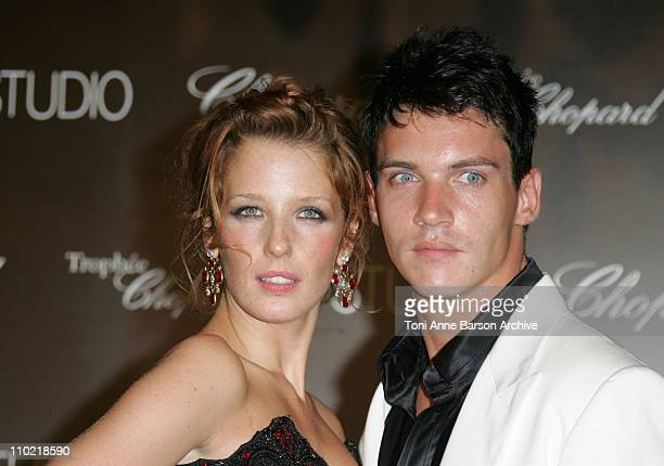 Kelly Reilly and Jonathan RhysMeyers during 2005 Cannes Film Festival Chopard Trophy Awards Photocall at Carlton Hotel in Cannes France