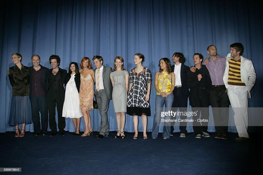 Kelly Reilly, Kevin Bishop, Audrey Tautou, Cedric Klapisch, Cecile de France and Romain Duris attend the premiere of 'Les Poupees Russes' in Paris.