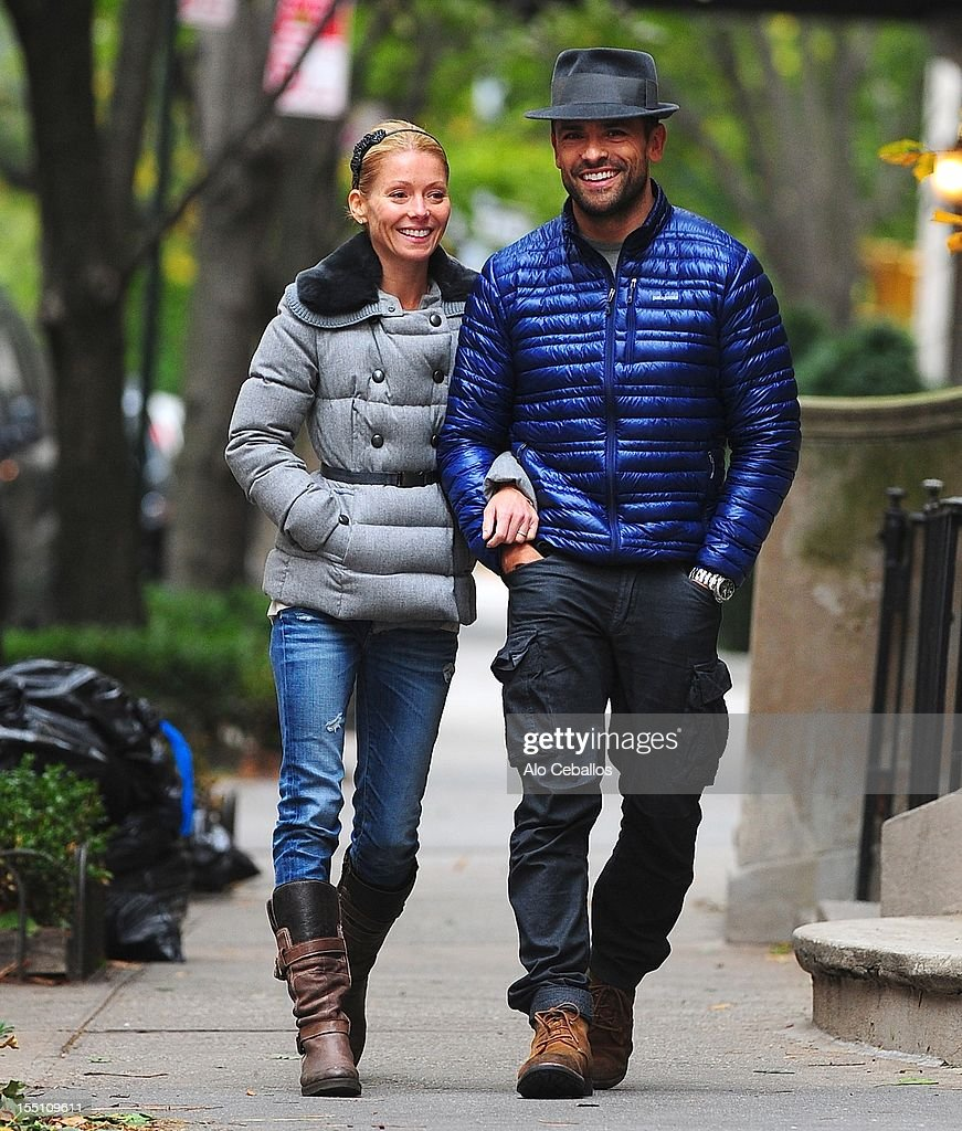 Kelly Ripa and Mark Consuelos are seen Upper East Side at Streets of Manhattan on November 1, 2012 in New York City.