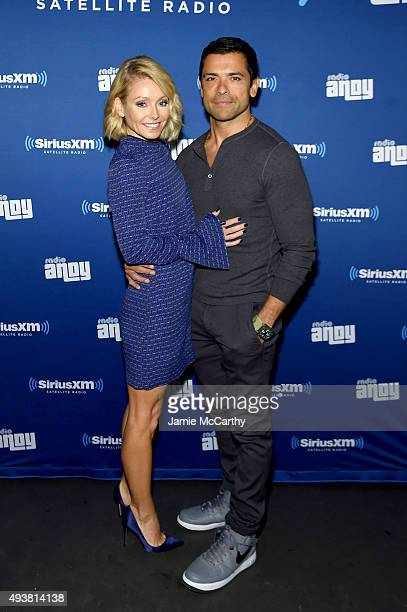 Kelly Ripa and Mark Consuelos attend Andy Cohen SiriusXM celebrate the launch of Cohen's New Exclusive SiriusXM Channel Radio Andy at PHD Rooftop...