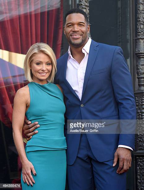 Kelly Ripa and Michael Strahan attend the ceremony honoring Kelly Ripa with a star on the Hollywood Walk of Fame on October 12 2015 in Hollywood...