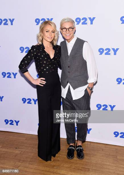 Kelly Ripa and Stacey Griffith attend Soulcycle's Stacey Griffith In Conversation With Kelly Ripa at 92nd Street Y on March 7 2017 in New York City