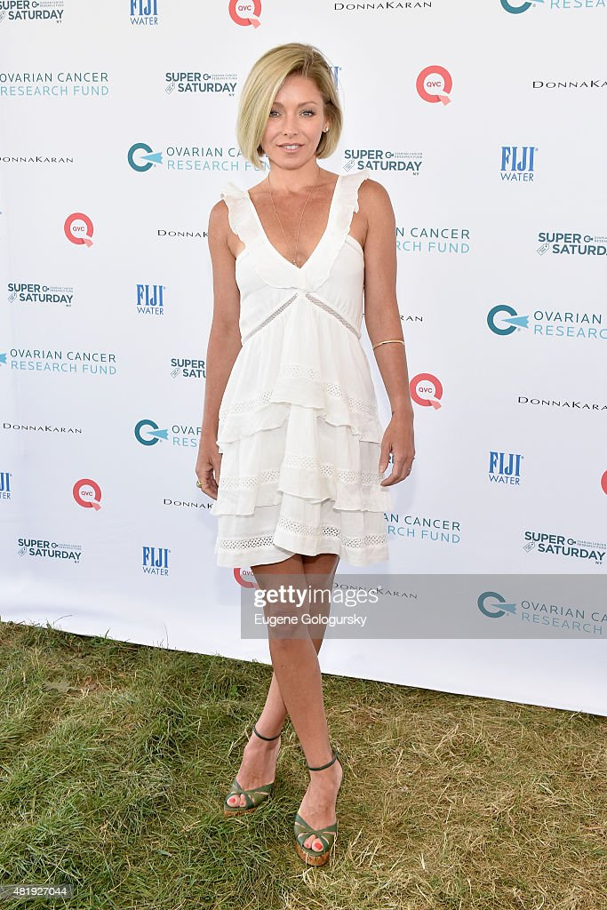 <a gi-track='captionPersonalityLinkClicked' href=/galleries/search?phrase=Kelly+Ripa&family=editorial&specificpeople=202134 ng-click='$event.stopPropagation()'>Kelly Ripa</a> attends OCRF's 18th Annual Super Saturday NY Co-Sponsored by FIJI Water on July 25, 2015 in Water Mill, New York.
