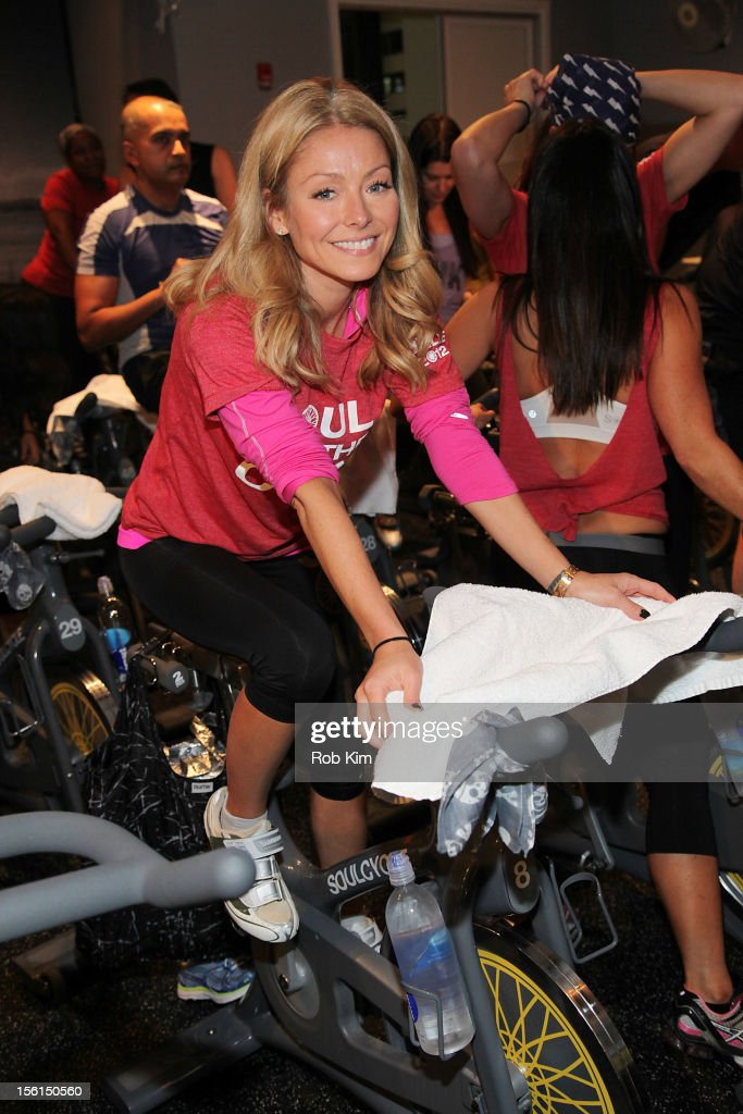 <a gi-track='captionPersonalityLinkClicked' href=/galleries/search?phrase=Kelly+Ripa&family=editorial&specificpeople=202134 ng-click='$event.stopPropagation()'>Kelly Ripa</a> attends SoulCycle's Soul Relief Rides at SoulCycle Tribeca on November 11, 2012 in New York City.