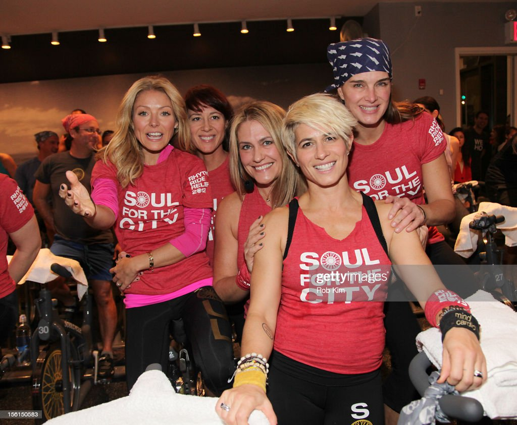 Kelly Ripa, instructor Janet Fitzgerald, instructor Melanie Griffith, instructor Jenny Gaither and actress Brooke Shields attend SoulCycle's Soul Relief Rides at SoulCycle Tribeca on November 11, 2012 in New York City.