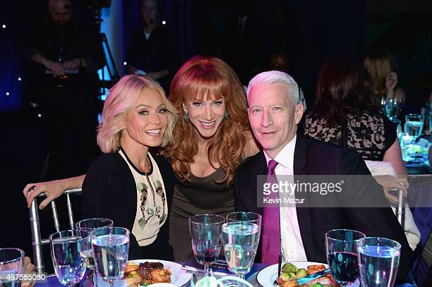 Kelly Ripa Kathy Griffin and Anderson Cooper attend CNN Heroes 2015 Show at American Museum of Natural History on November 17 2015 in New York City...